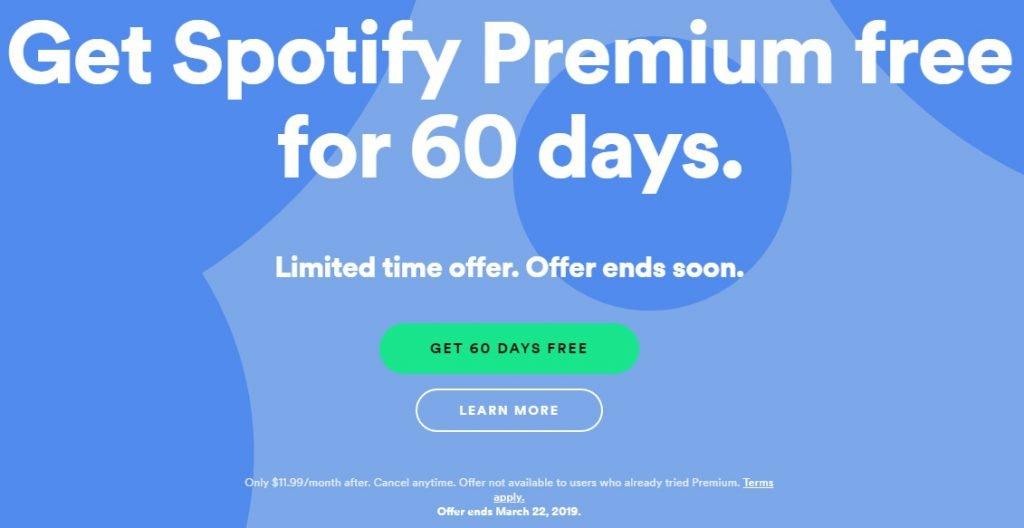 spotify premium 60 days