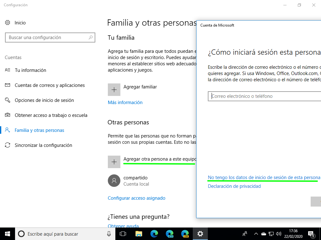 Create a local user in Windows 10