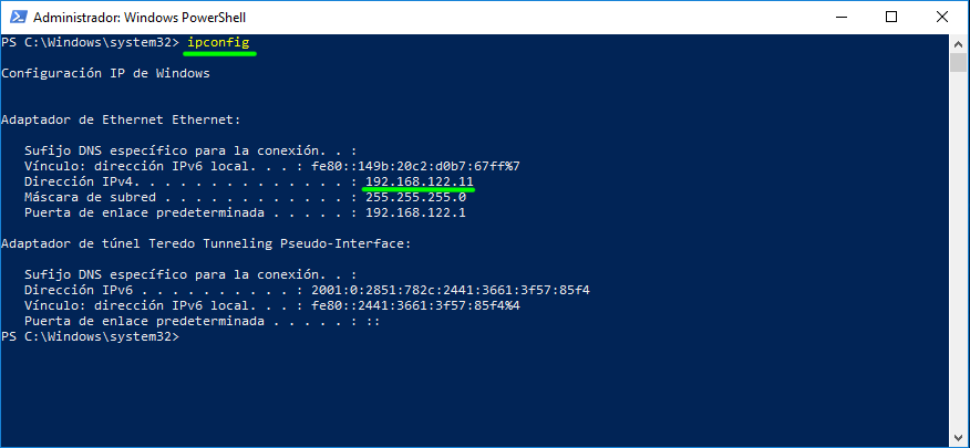 IP of the Windows 10 computer that you share via SMB or CIFS