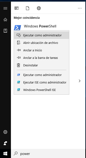 Start PowerShell as administrator