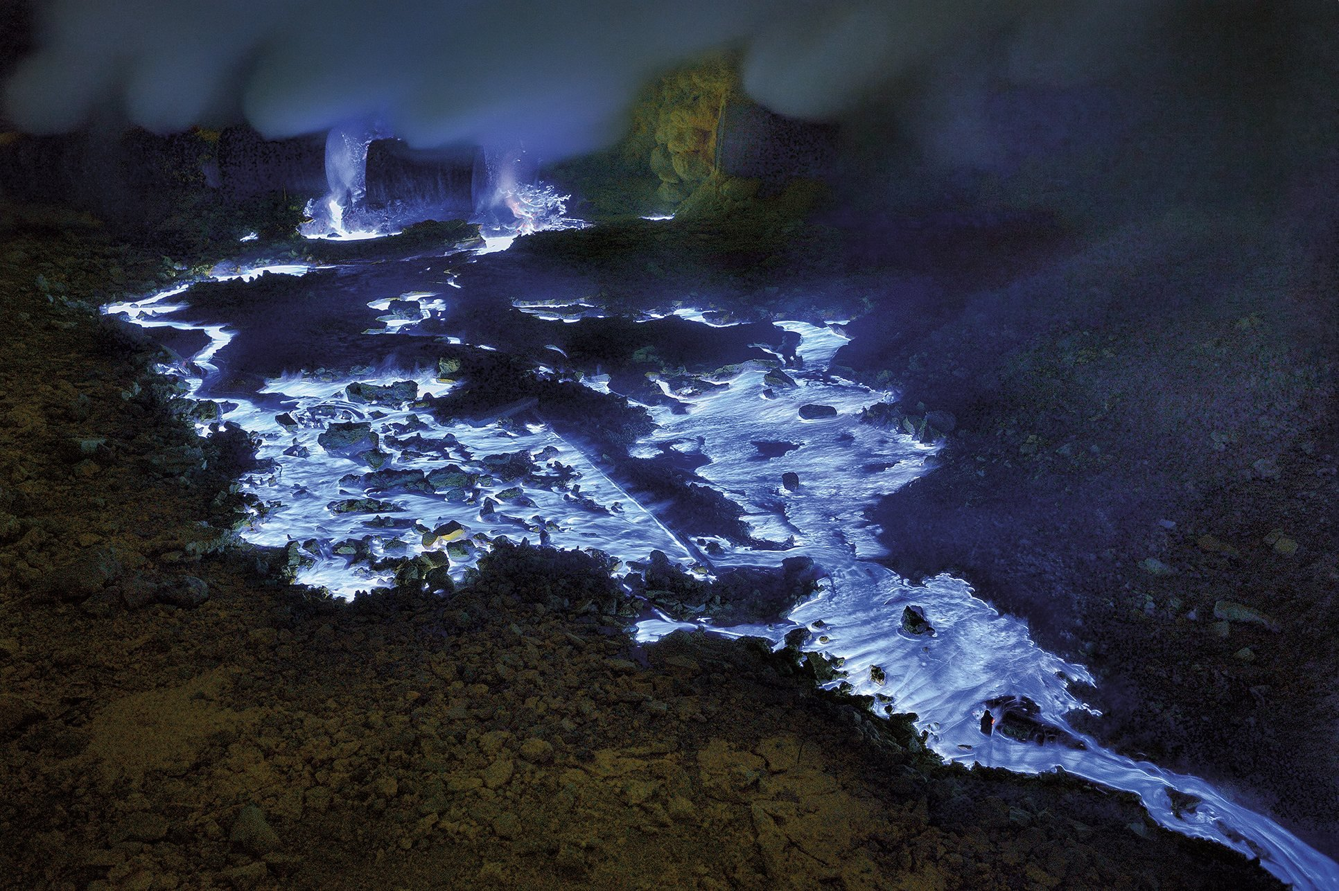 The blue fire of the Java volcano