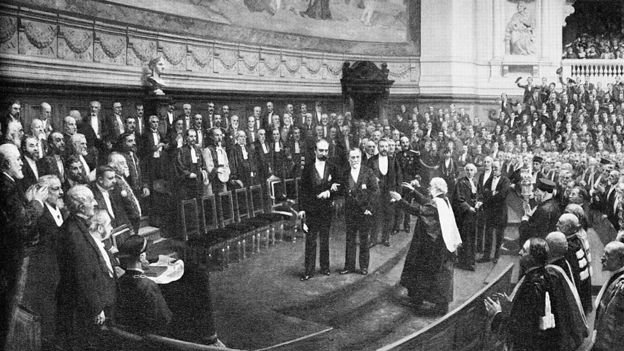 Lister is about to greet Pasteur at his 70th birthday celebrations at the Sorbonne, Paris, in 1892.