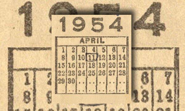 Calendar 1954
