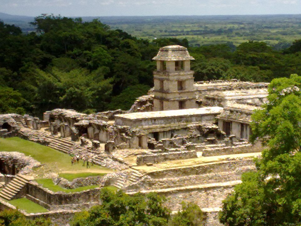 City of Palenque and inscription pyramid