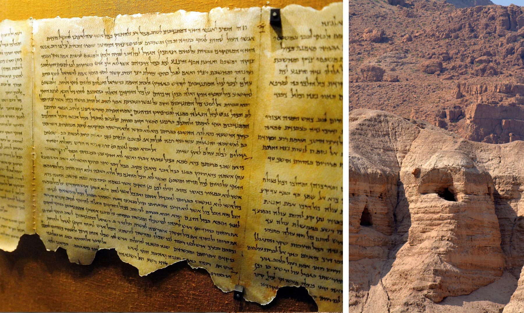 The Dead Sea Scrolls were found in caves.