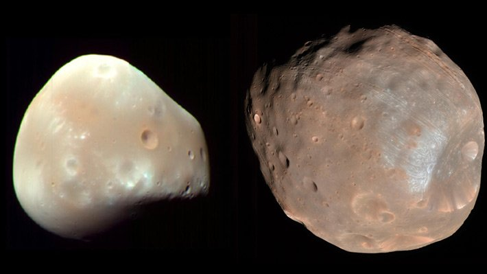 The moons of Mars, Phobos and Deimos, are misshapen.