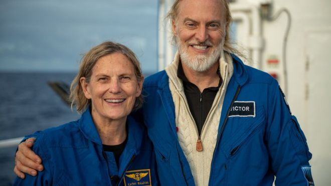 Sullivan and Vescovo traveled together to the Challenger Deep. She had previously done a spacewalk.