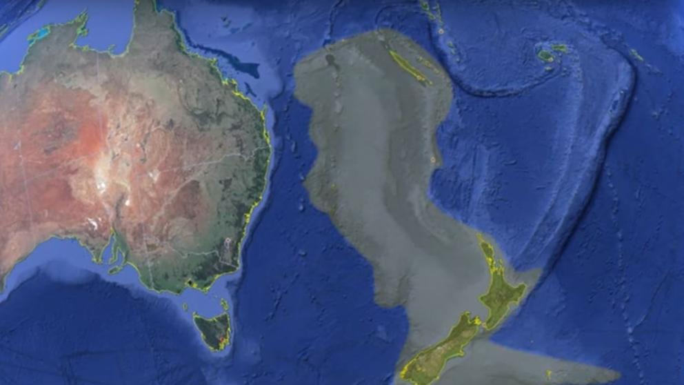 Topographic view of the submerged continent. The earth was very different 60 million years ago.