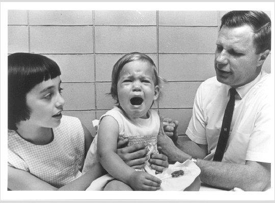 Dr. Robert Weibel vaccinates Maurice Hilleman