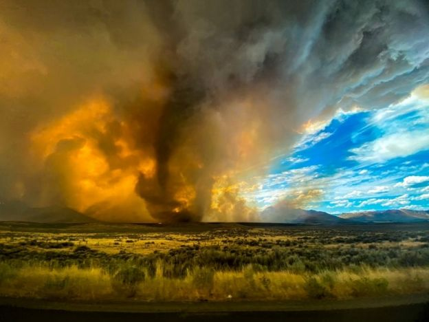 The fiery tornado that occurred in California coincided with record temperatures.