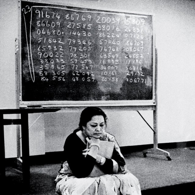 Shakuntala Devi, the human computer, calculates a difficult multiplication.