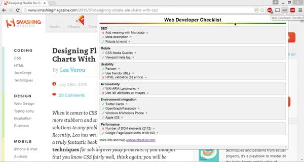 Extension of the web developer checklist for browsers