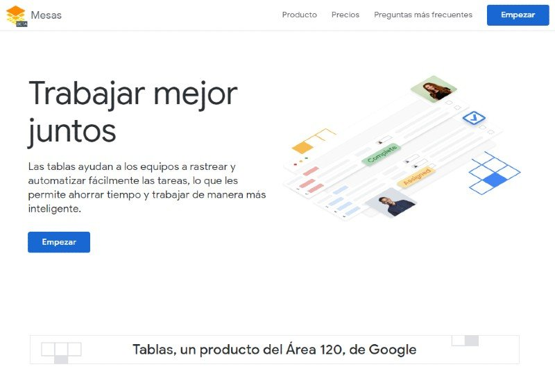 Google Tables organizes the management of projects