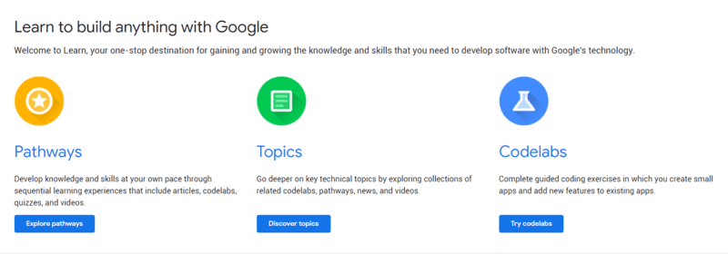This is LEARN, the new Google Developer Resources page
