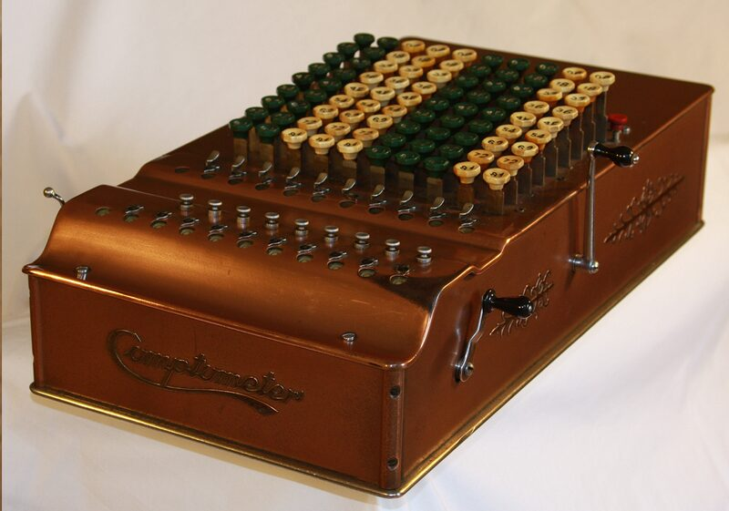 The first mechanical keystroke calculator, the comptometer, revolutionized its industry. This model dates from 1930.