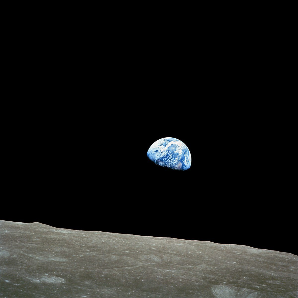 Earthrise, the first photo of the earth from the moon.