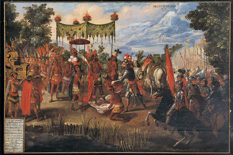 The picture shows the first meeting between Moctezuma and Cortés.