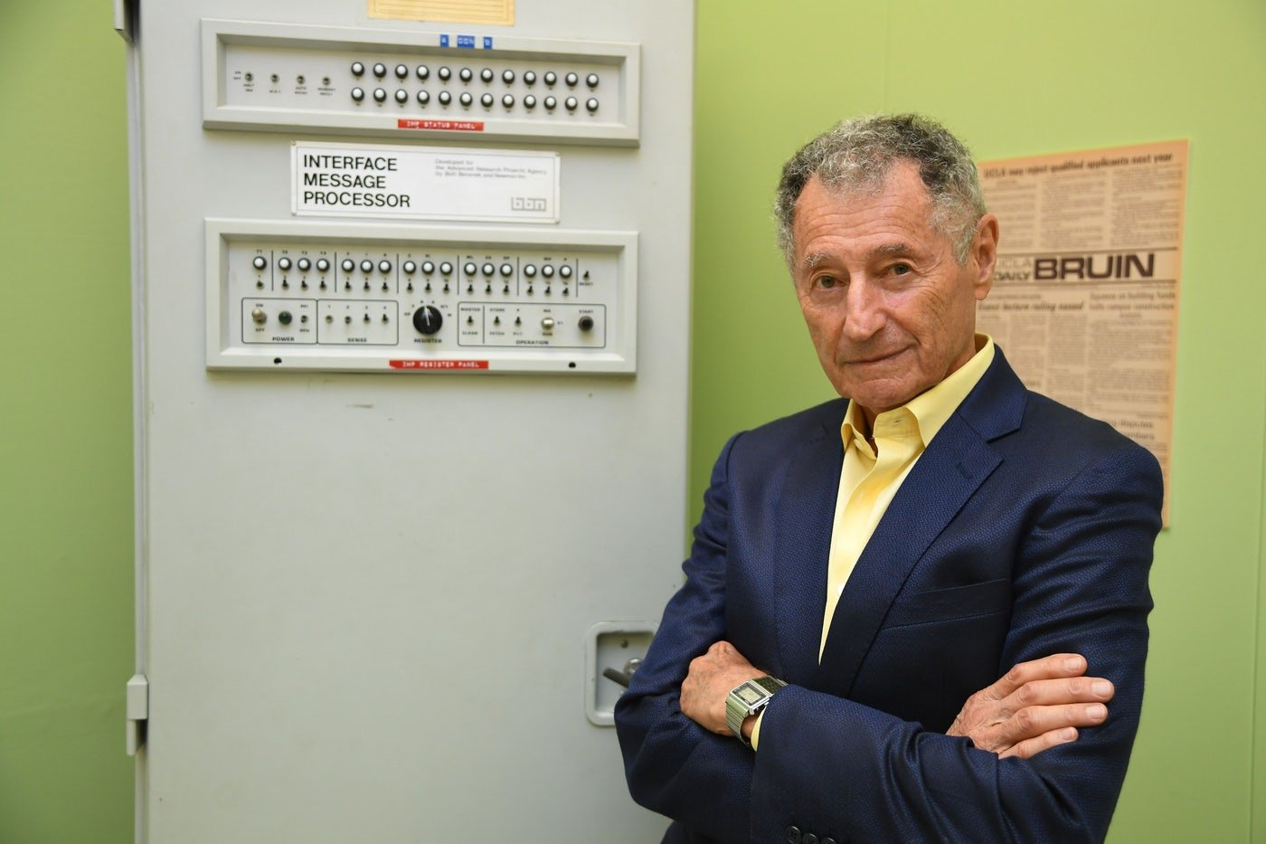 Leonard Kleinrock, participant in the true birth of the Internet in 1969, along with the computer that started it all.