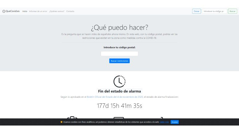 Quecovid.es Covid Restrictions Page