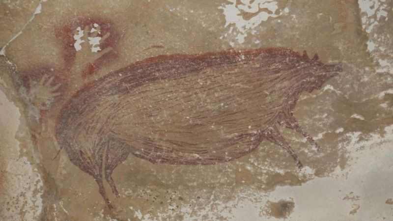 The oldest animal drawing in the world.  Anonymous artist, of course.