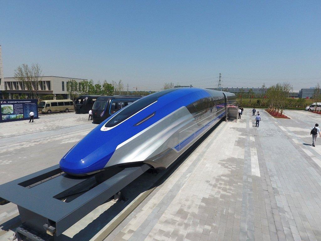The train as fast as an airplane has a futuristic design.