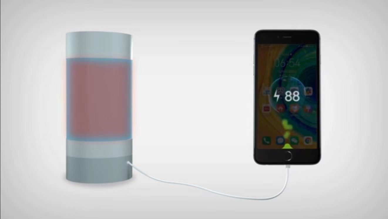 The water bottle that can charge your battery is shown here in a simulation.