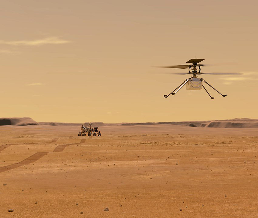 Helicopter drone on Mars