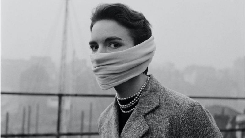 Mask used in the first half of the century to prevent smog in London.