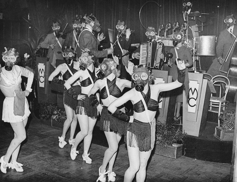 Even the dancers wore gas masks in the tension before World War II.