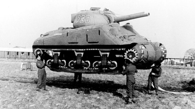 The role of camouflage in the world wars was crucial.  In the picture inflatable tanks to confuse the enemy.