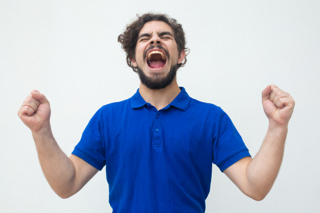 The use of shouting to express positive emotions is strictly reserved for humans.