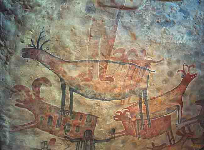 Paintings on the cave walls