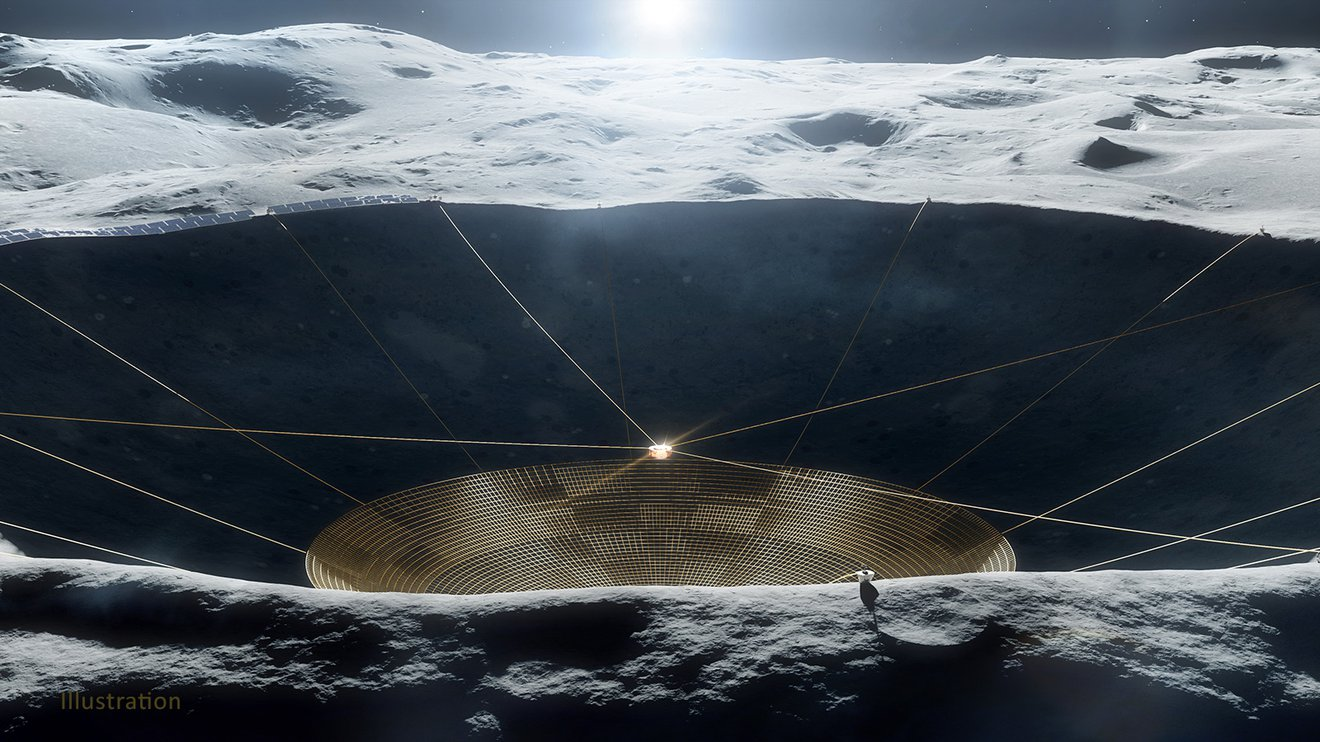 The telescope to be installed on the moon appears in this graphic representation.