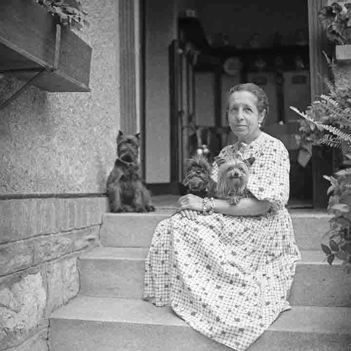 Madame D'ora and her dogs