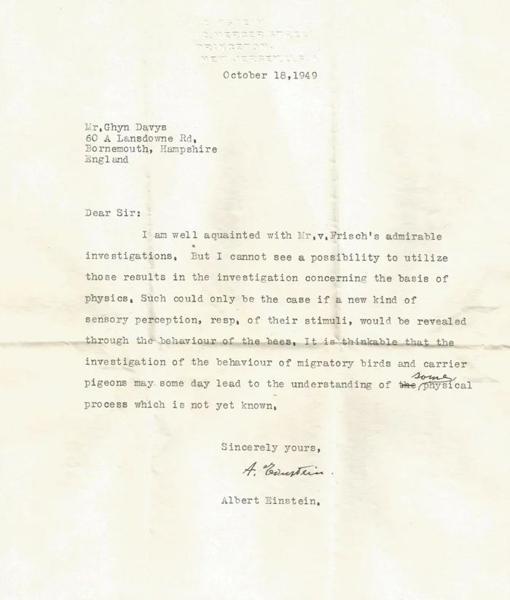 Einstein's letter about animals with super senses.