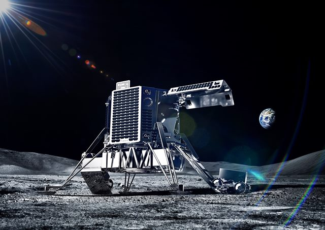 The ispace lunar module carries the robot.
