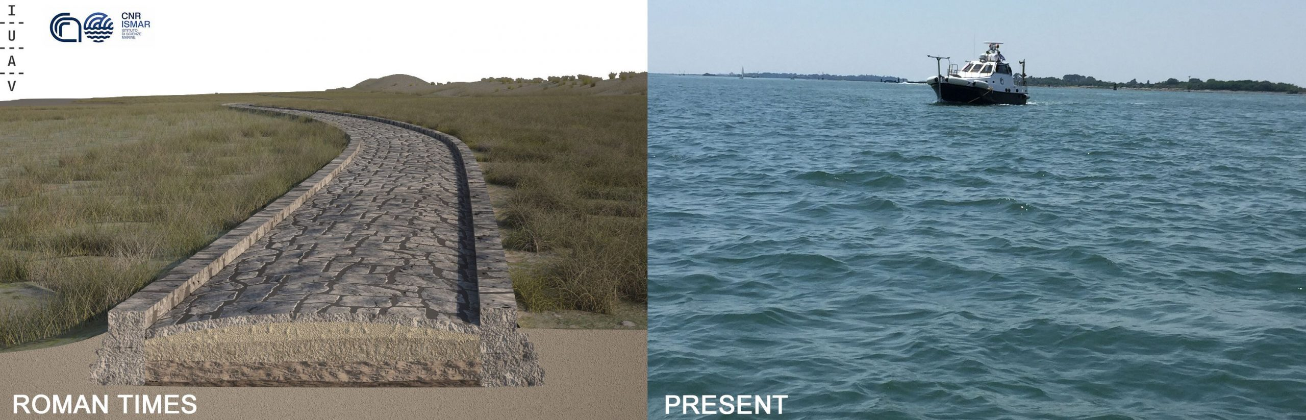 A Roman road in the Venice lagoon indicates that a settlement may have existed at this point.