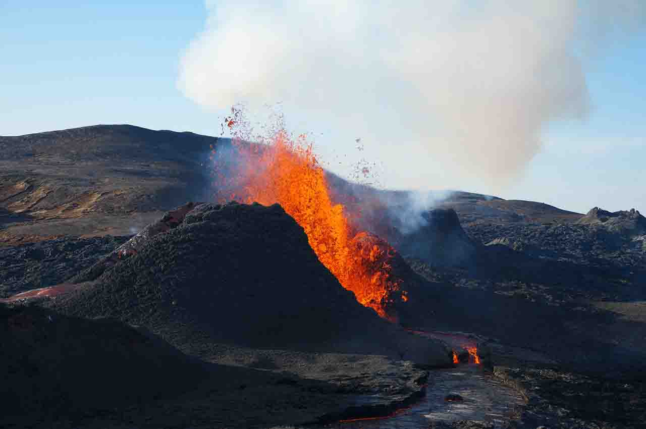 the magma coming out of the volcano turns into lava