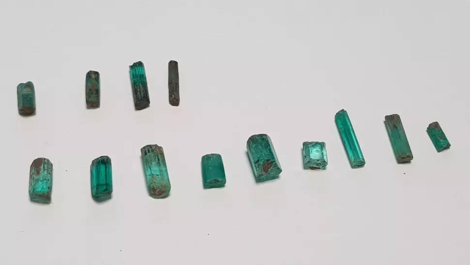 Numerous emeralds found in this treasure.