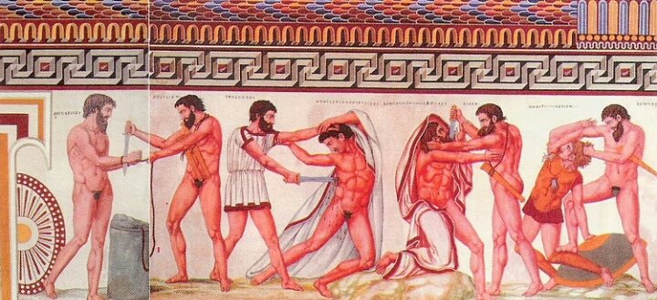 Some Roman traditions, such as gladiatorial wrestling, came from the Etruscans.